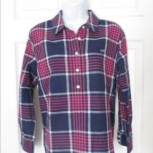 EUC Vineyard Vines Navy Plaid Shirt. Size 16.